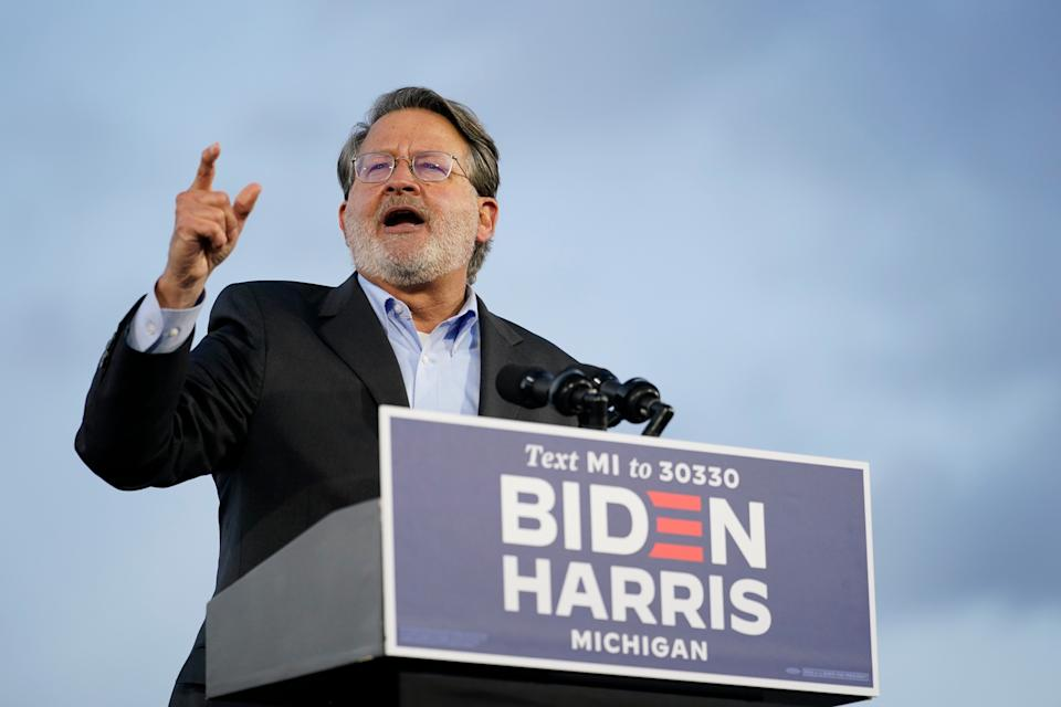 Sen. Gary Peters speaks during an event for Democratic presidential nominee Joe Biden at the Michigan State Fairgrounds in Novi on Oct. 16. (Photo: ASSOCIATED PRESS)