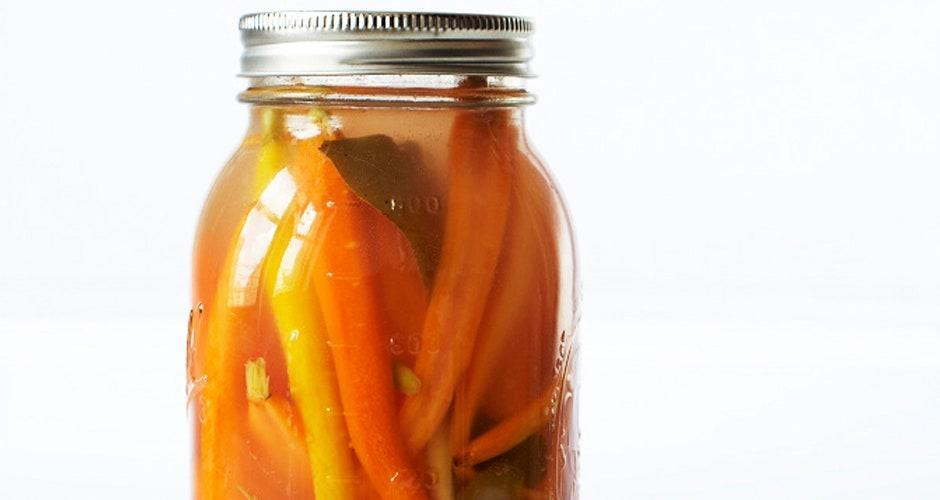 "For this recipe from chef Hugh Acheson, Empire State South, Atlanta, letting the carrots sit past the initial 5-day pickling will make the flavor more pronounced. <a href=""https://www.bonappetit.com/recipe/fermented-carrot-pickles?mbid=synd_yahoo_rss"" rel=""nofollow noopener"" target=""_blank"" data-ylk=""slk:See recipe."" class=""link rapid-noclick-resp"">See recipe.</a>"
