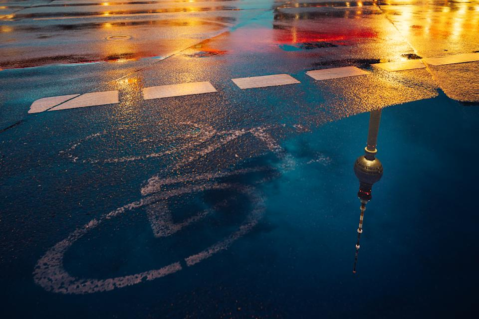 Cycle path on wet road. Source: Getty Image
