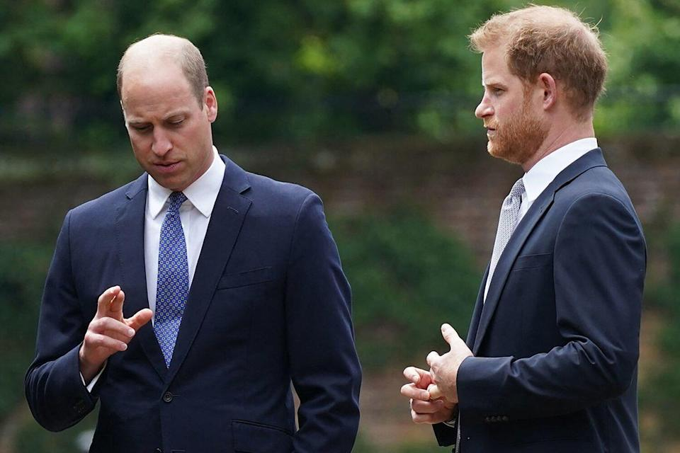 Prince William, Duke of Cambridge (L) and Britain's Prince Harry, Duke of Sussex chat ahead of the unveiling of a statue of their mother, Princess Diana