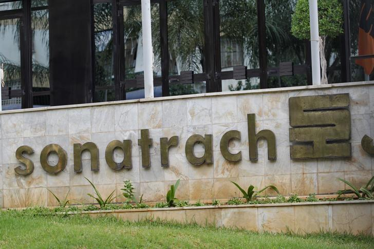 the logo of The state energy company Sonatrach is pictured at the headquarters in Algiers