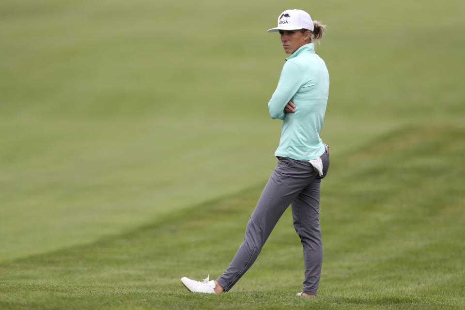 Mel Reid, of England, waits to hit on first fairway during the second round of the U.S. Women's Open golf tournament at The Olympic Club, Friday, June 4, 2021, in San Francisco. (AP Photo/Jed Jacobsohn)