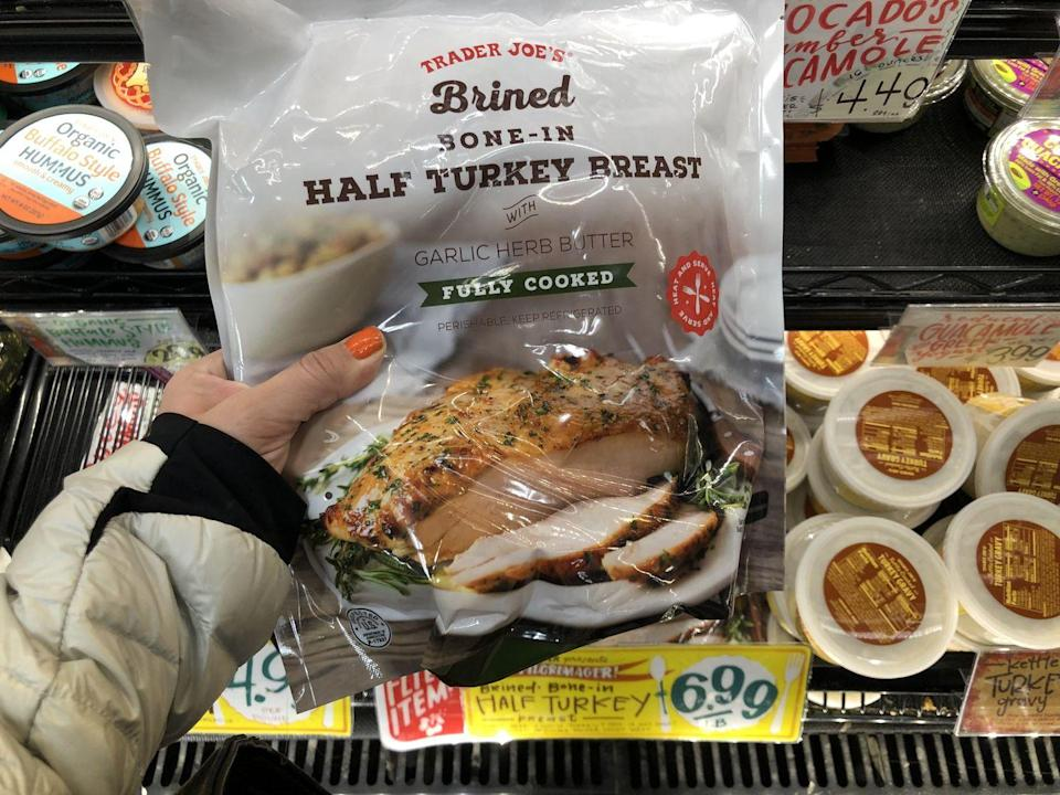 <p>Literally what could be easier for a tiny Thanksgiving for two? For only $6.99 you get a fully cooked half turkey breast from TJ's.</p>