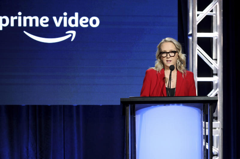 Head of Amazon Studios Jennifer Salke speaks at the Executive Session during the Amazon TCA 2020 Winter Press Tour at the Langham Huntington on Tuesday, Jan. 14, 2020, in Pasadena, Calif. (Photo by Willy Sanjuan/Invision/AP)