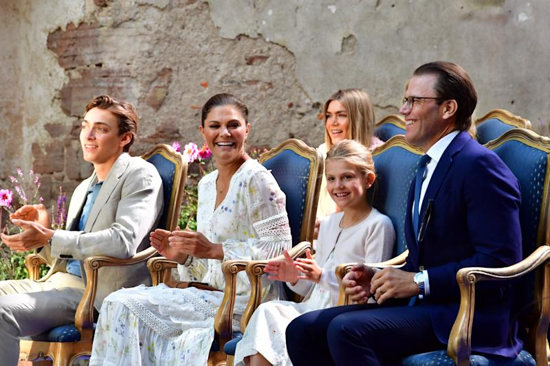 Pole vaulter Armand Duplantis, Crown Princess Victoria of Sweden, Princess Estelle and Prince Daniel attend the Victoria concert at Borgholms castle ruin in Sweden on July 14, 2020 on the day of the birthday of Swedish Crown Princess. (Photo by Jonas EKSTROMER / various sources / AFP) / Sweden OUT (Photo by JONAS EKSTROMER/TT News Agency/AFP via Getty Images)
