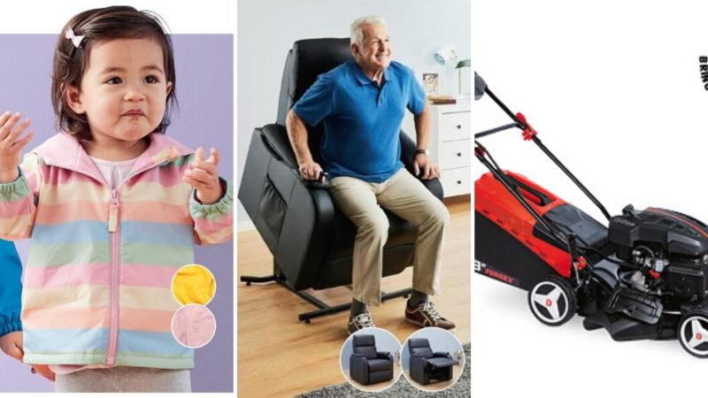 Children's clothing, an assisted living reclining chair and a lawnmower are all selling at Aldi as Special Buys.