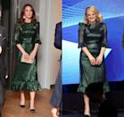 """<p>Kate Middleton ignited the internet when she donned this Vampire's Wife ruffled emerald lamé dress during her 2020 visit to Ireland. The dress is known as a<a href=""""https://www.harpersbazaar.com/celebrity/latest/a31212482/kate-middleton-princess-beatrice-same-green-dress/"""" rel=""""nofollow noopener"""" target=""""_blank"""" data-ylk=""""slk:favorite among influencers and the fashion set"""" class=""""link rapid-noclick-resp""""> favorite among influencers and the fashion set</a> and was even worn by Elisabeth Moss a few years earlier at a press event. </p>"""