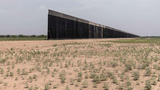 PHOTO: A portion of U.S.-Mexico border wall stands unfinished, April 14, 2021, near La Joya, Texas.  (John Moore/Getty Images)