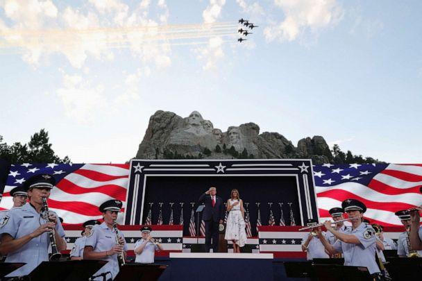 PHOTO: An aerial flypast takes place as President Donald Trump and first lady Melania Trump attend South Dakota's American Independence Day Mount Rushmore fireworks celebrations in Keystone, South Dakota, July 3, 2020. (Tom Brenner/Reuters)