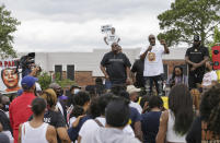 """Philonise Floyd, the brother of George Floyd, talks to a crowd of supporters during a """"Justice for Pamela Turner"""" rally on the two-year-anniversary of Turner's death, Thursday, May 13, 2021, in Baytown, Texas. Turner was fatally shot in 2019 by a police officer in the Houston suburb after a struggle over his stun gun. (Godofredo A. Vásquez/Houston Chronicle via AP)"""
