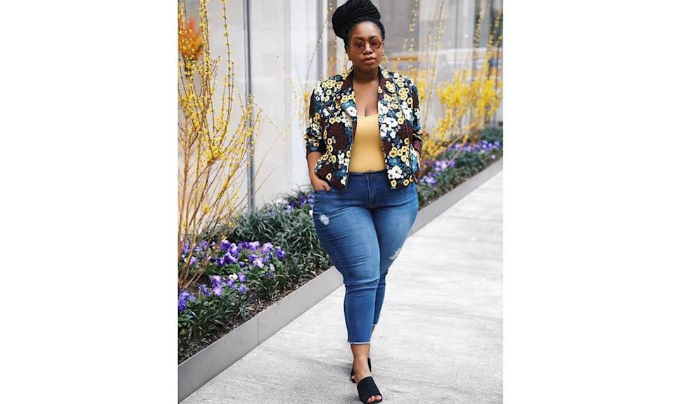 """<p>Blogger <a href=""""https://www.instagram.com/p/BTAHsk0gHfi/?taken-by=kellyaugustineb"""" rel=""""nofollow noopener"""" target=""""_blank"""" data-ylk=""""slk:@kellyaugustineb"""" class=""""link rapid-noclick-resp"""">@kellyaugustineb</a> shows us that a floral-print moto jacket is an ideal spring update to your heavy leather go-to. </p>"""