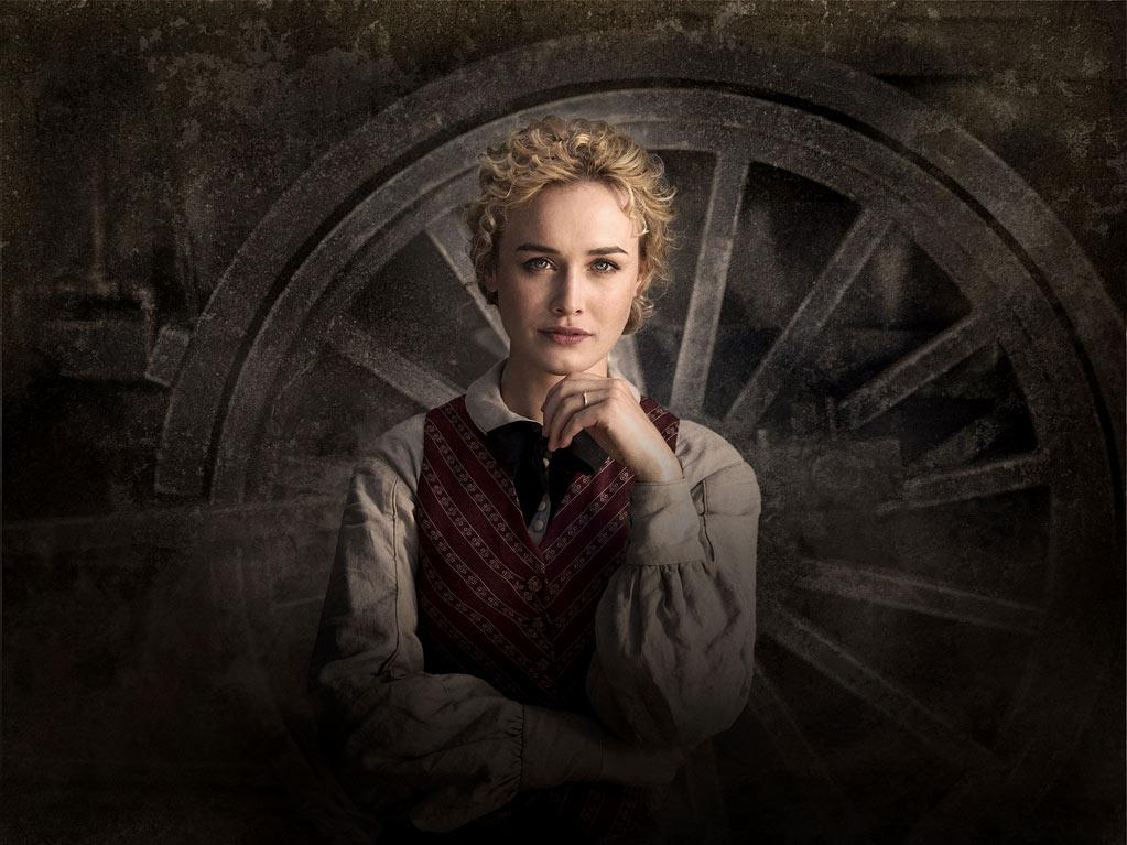 "Dominique McElligott stars as Lily Bell in ""Hell on Wheels."""