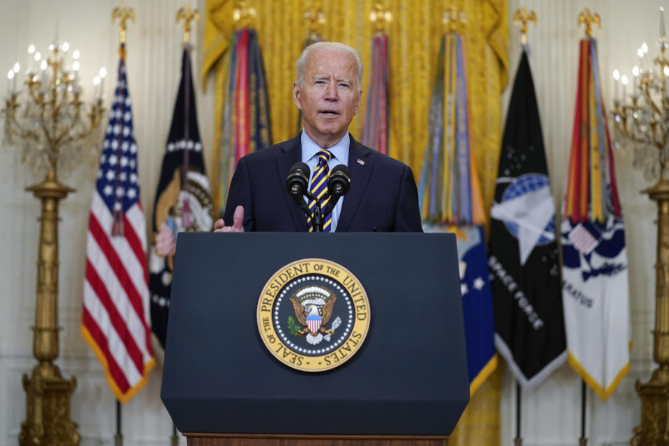 President Joe Biden speaks about the American troop withdrawal from Afghanistan, in the East Room of the White House, Thursday, July 8, 2021, in Washington. (AP Photo/Evan Vucci)