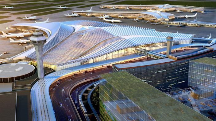 """Studio Gang beat out stiff competition, including <a href=""""https://www.architecturaldigest.com/story/santiago-calatrava-design-chicago-airport-rooted-past-eye-toward-future?mbid=synd_yahoo_rss"""" rel=""""nofollow noopener"""" target=""""_blank"""" data-ylk=""""slk:Santiago Calatrava"""" class=""""link rapid-noclick-resp"""">Santiago Calatrava</a> and Norman Foster to construct the $8.5 billion O'Hare airport extension. The new Global Terminal has a <a href=""""https://www.architecturaldigest.com/story/studio-gang-wins-design-competition-chicago-ohare-airport-expansion?mbid=synd_yahoo_rss"""" rel=""""nofollow noopener"""" target=""""_blank"""" data-ylk=""""slk:skeletal, otherworldly façade"""" class=""""link rapid-noclick-resp"""">skeletal, otherworldly façade</a> contoured like the Chicago River. The concourse's soaring atrium will be filled with plants, a natural wood ceiling, and skylights to lend a serene vibe."""