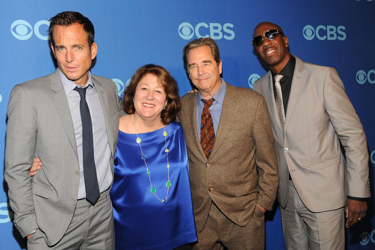 NEW YORK, NY - MAY 15:  (L-R) Cast members of The Millers Will Arnett, Margo Martindale, Beau Bridges and JB Smoove attend CBS 2013 Upfront Presentation at The Tent at Lincoln Center on May 15, 2013 in New York City.  (Photo by Ben Gabbe/Getty Images)
