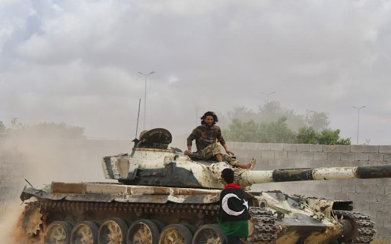 A GNA tank in southern Tripoli last week. Fighting has escalated in Libya over the past month. - Hazem Turki/Anadolu Agency