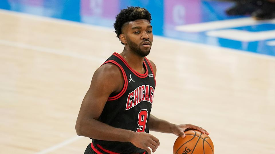 Chicago Bulls forward Patrick Williams (9) during an NBA basketball game against the Oklahoma City Thunder, Friday, Jan. 15, 2021, in Oklahoma City. (AP Photo/Sue Ogrocki)