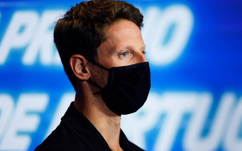 Haas F1's French driver Romain Grosjean attends the official press conference ahead of the Portuguese Formula One Grand Prix at the Algarve international circuit in Portimao on October 22, 2020. - AFP/RUDY CAREZZEVOLI
