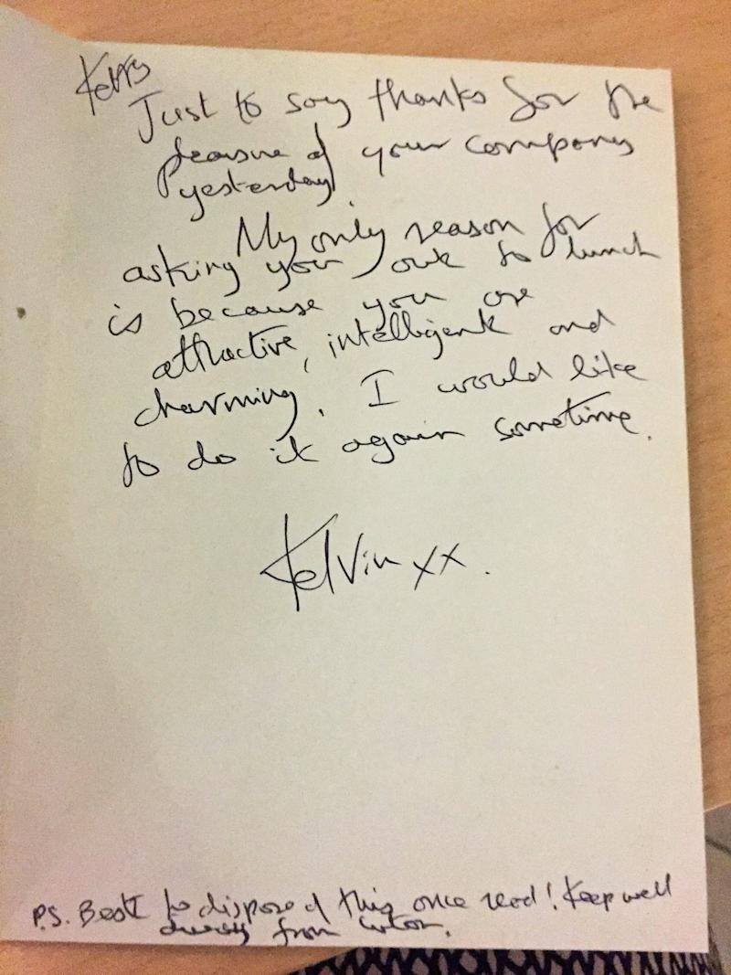 <strong>Letter from Kelvin Hopkins received by Labour's Kerry McCarthy who has come forward to say she suffered more than 20 years of unwanted attention from the Luton North MP. </strong> (PA Images via Getty Images)