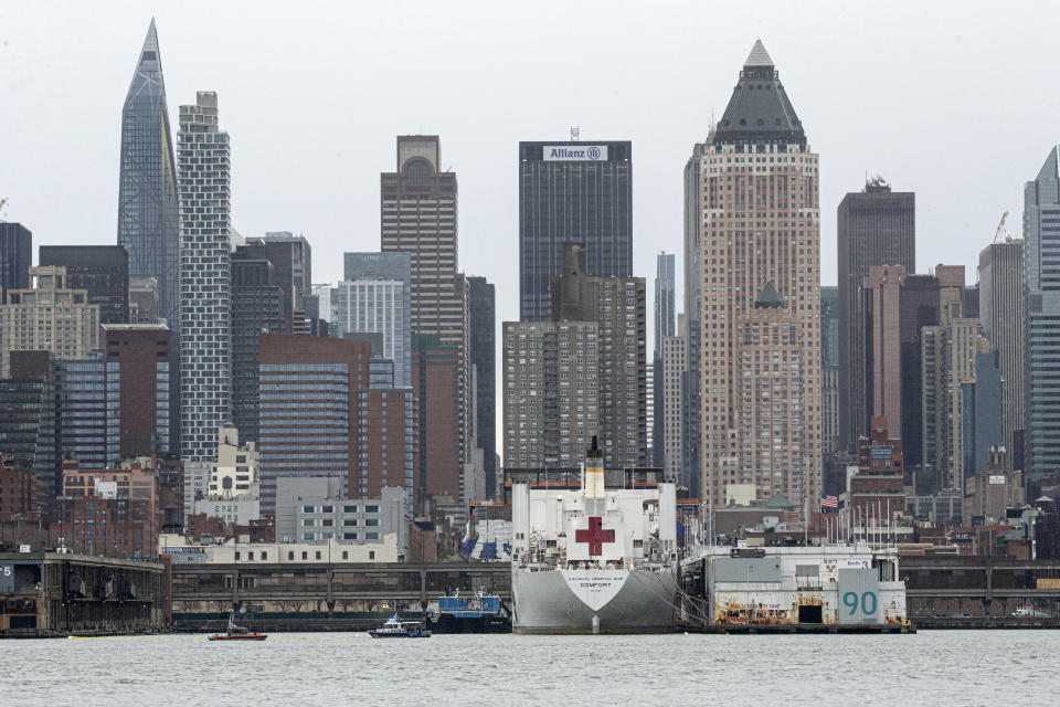 WEST NEW YORK, NJ - APRIL 03: The USNS Comfort navy hospital ship is docked at Pier 90 in Manhattan  on April 3, 2020  as seen from West New York, New Jersey. According to reports, the military hospital ship's 1,000 beds, expected to help overcrowded hospitals dealing with the city's COVID-19 outbreak, remain mostly unused. (Photo by Kena Betancur/Getty Images)