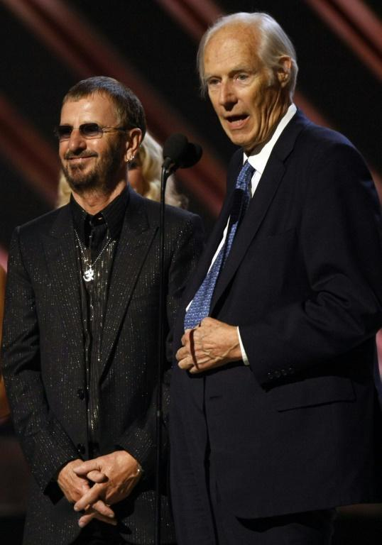 Former Beatle Ringo Starr (L) and producer George Martin were awarded the Best Compilation Soundtrack Album at the 50th Grammy Awards in 2008