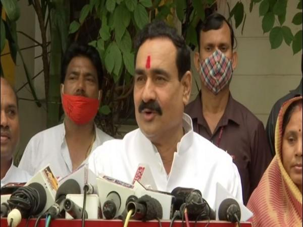 Madhya Pradesh Home Minister Narottam Mishra speaking to the reporters on Monday. (Photo/ANI)