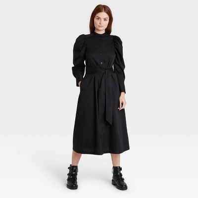<p>The <span>Women's Puff Long Sleeve Shirtdress</span> ($38) has all the makings of a Moira Rose outfit. Puffed sleeves? Check. High neck? Check. Black? Check.</p>