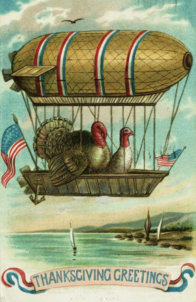 ca. 1909 — Thanksgiving Greetings Postcard — Image by © Blue Lantern Studio/Corbis