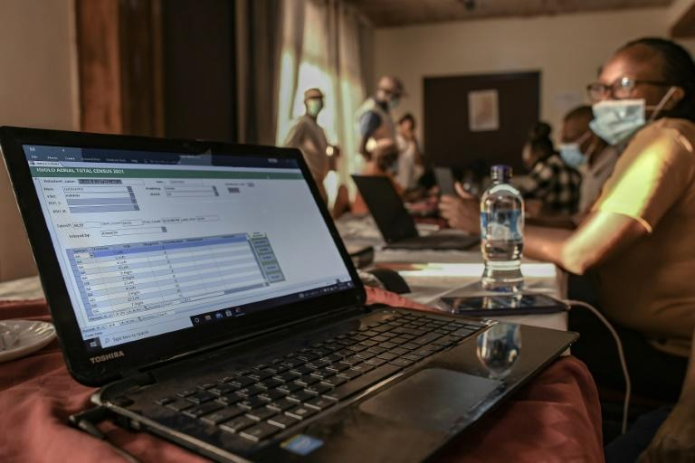 Experts from the Kenya Wildlife Service and the government analyse data collected during aerial wildlife aerial counts
