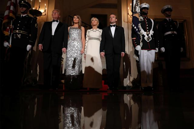 <p>President Donald Trump, first lady Melania Trump, French President Emmanuel Macron and his wife Brigitte Macron attend a State Dinner at the White House in Washington, April 24, 2018. (Photo: Carlos Barria/Reuters) </p>