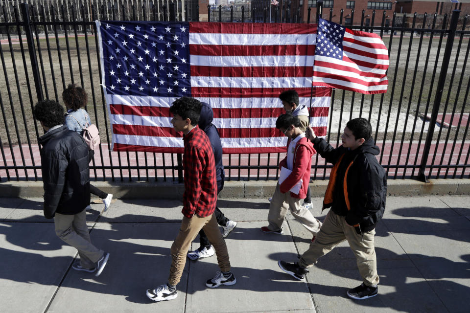 Students from James Ferris High School march outside of the school during a student walkout on March 14 in Jersey City, N.J. Students across the country participated in a nationwide walkout Wednesday to protest gun violence, one month after the deadly shooting at a high school in Parkland, Fla. (Photo: Julio Cortez/AP)