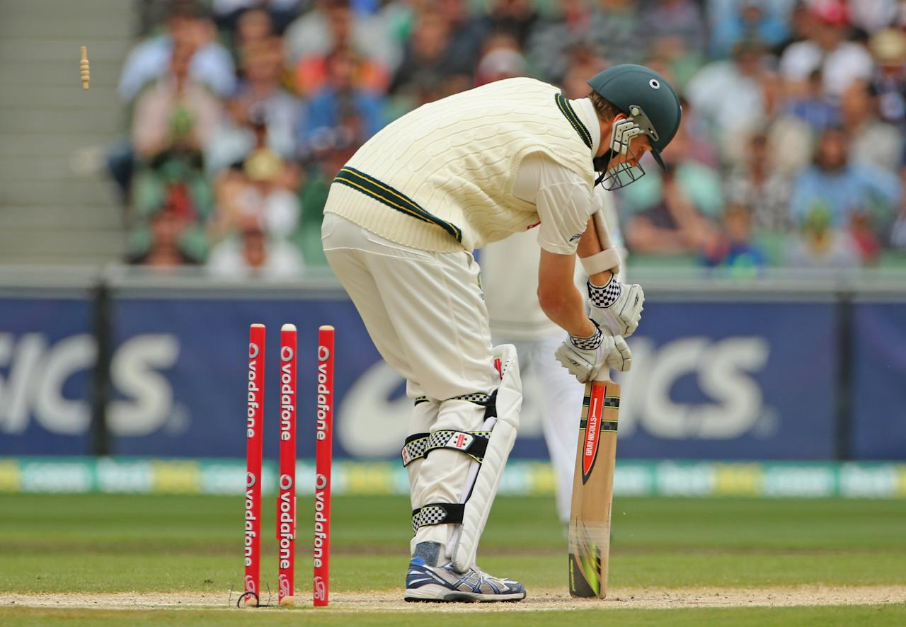 MELBOURNE, AUSTRALIA - DECEMBER 28:  Jackson Bird of Australia is out bowled during day three of the Second Test match between Australia and Sri Lanka at Melbourne Cricket Ground on December 28, 2012 in Melbourne, Australia.  (Photo by Scott Barbour/Getty Images)