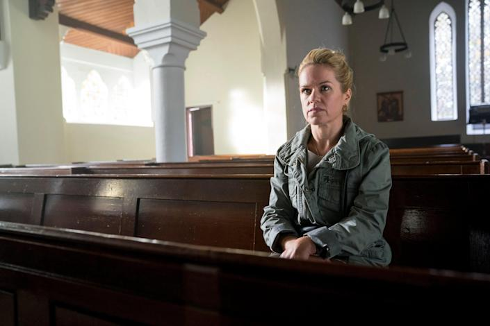<p>Theresa, played by Sinéad Keenan in Three Families, buys abortion pills on the internet for her 15-year-old daughter</p> (BBC/Studio Lambert/Steffan Hill)