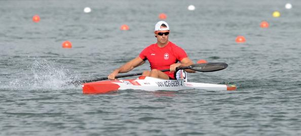 Canada's Adam van Koeverden is pictured after winning the kayak single (K1) 1000m men's heat A during the London 2012 Olympic Games, at Eton Dorney Rowing Centre in Eton, west of London, on August 6, 2012. AFP PHOTO / DAMIEN MEYER (Photo credit should read DAMIEN MEYER/AFP/GettyImages)