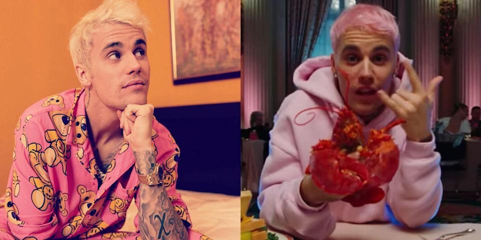 "<p>Justin Bieber is kicking off 2020 with not only a new song, <a href=""https://www.seventeen.com/celebrity/music/a30390471/justin-bieber-giant-neck-tattoo-album-name-hint/"" rel=""nofollow noopener"" target=""_blank"" data-ylk=""slk:album"" class=""link rapid-noclick-resp"">album</a>, and <a href=""https://www.seventeen.com/celebrity/celebrity-couples/a30369702/justin-bieber-seasons-trailer-hailey-baldwin-wedding/"" rel=""nofollow noopener"" target=""_blank"" data-ylk=""slk:documentary"" class=""link rapid-noclick-resp"">documentary</a>, but also new hair! The singer debuted bubblegum pink hair in his <a href=""https://www.youtube.com/watch?v=8EJ3zbKTWQ8"" rel=""nofollow noopener"" target=""_blank"" data-ylk=""slk:&quot;Yummy&quot; music video"" class=""link rapid-noclick-resp"">""Yummy"" music video</a>, matching the 'do to his pink Drew sweatshirt. It seems like <a href=""https://www.instagram.com/p/B63UfKuHC2P/"" rel=""nofollow noopener"" target=""_blank"" data-ylk=""slk:Justin has moved on to bleach blonde locks"" class=""link rapid-noclick-resp"">Justin has moved on to bleach blonde locks</a> since filming the video, but I'm all for the pink look.</p>"