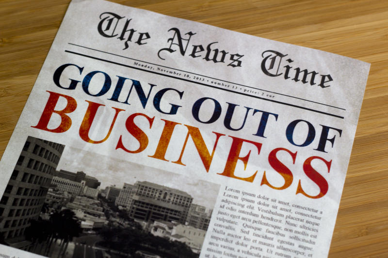 Going out of business headline in a newspaper