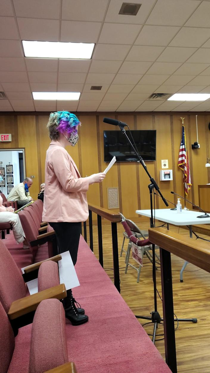 Peyton Amaral, an eighth grader at Morton Middle School in Fall River, Mass., testifies before the Fall River City Council.