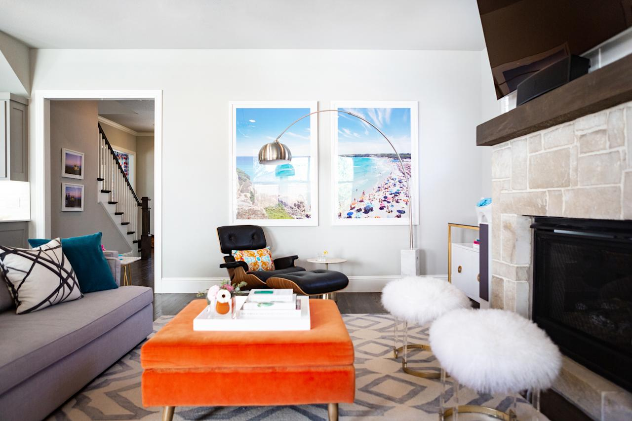 "<p>Though California nostalgia played a role in the design, function was also a major factor. ""They needed a living space that would allow for daily life with kids while transitioning easily into a space for entertaining,"" says Fenimore. To achieve this, she created thoughtful storage spaces throughout the house, including the white lacquer cabinets on each side of the fireplace. The furniture was upholstered in durable fabrics, accessories were chosen for their ability to hold up over time, and rugs were selected that would stay intact with dogs and children hanging out on them. </p>"