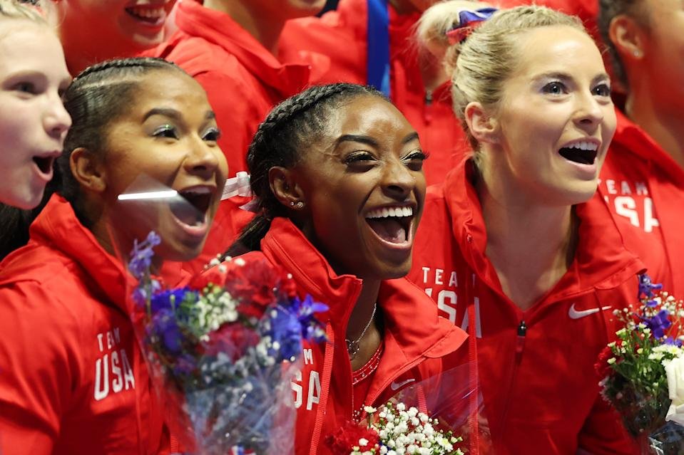 ST LOUIS, MISSOURI - JUNE 27:  (L-R) Jordan Chiles, Simone Biles, Mykayla Skinner and Sunisa Lee, pose following the Women's competition of the 2021 U.S. Gymnastics Olympic Trials at America's Center on June 27, 2021 in St Louis, Missouri. (Photo by Carmen Mandato/Getty Images)