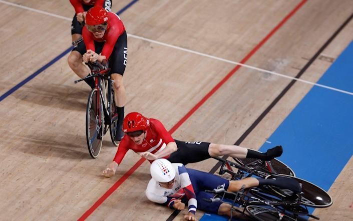 Team GB in cycling row with Denmark over illegal shin tape - before Dane takes out Brit on track - AFP