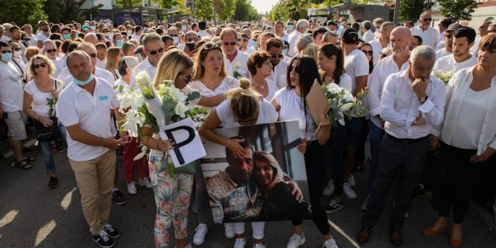 Veronique Monguillot, wife of bus driver Philippe Monguillo, leads a protest march in Bayonne, France, on July 8, 2020.