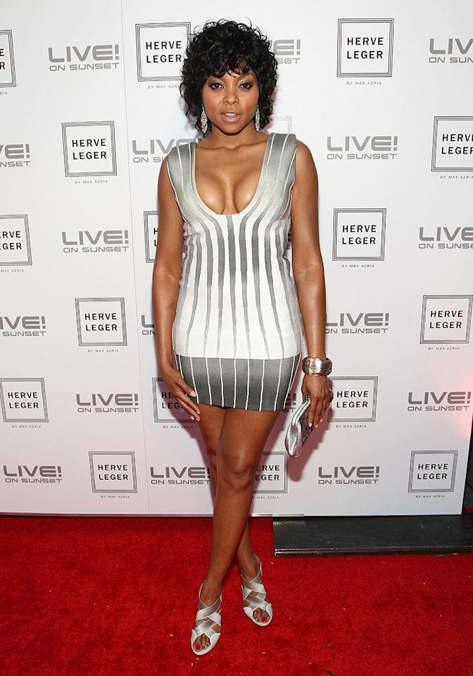 """Taraji P. Henson squeezed herself into a vertically-striped variation of the bandage dress. Alberto E. Rodriguez/<a href=""""http://www.gettyimages.com/"""" target=""""new"""">GettyImages.com</a> - May 6, 2009"""