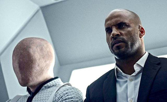 <p>Ricky Whittle as Shadow Moon in Starz' <i>American Gods</i>.<br><br>(Photo: Starz) </p>
