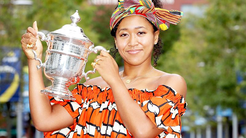 Naomi Osaka, pictured here posing with the US Open trophy.