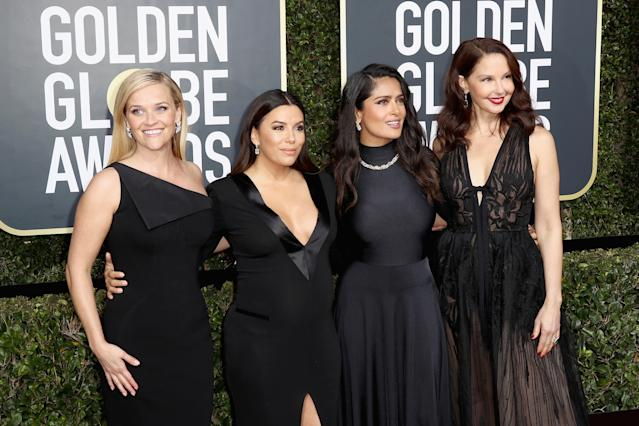 Reese Witherspoon, Eva Longoria, Salma Hayek and Ashley Judd at the 75th Annual Golden Globe Awards in 2018 [Photo: Getty]