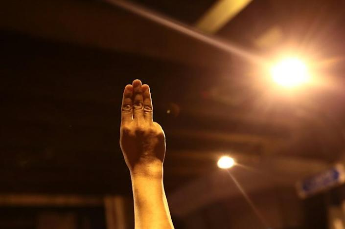 """Thailand's pro-democracy protester have adopted the three-finger salute from """"The Hunger Games"""" books and films"""