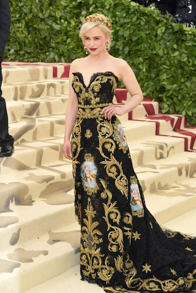 <p>Clarke looks like a true queen in this Dolce & Gabbana Alta Moda gown. (Photo: Getty Images) </p>