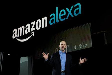 Mike George, VP Alexa, Echo and Appstore for Amazon, speaks during the LG press conference at CES in Las Vegas