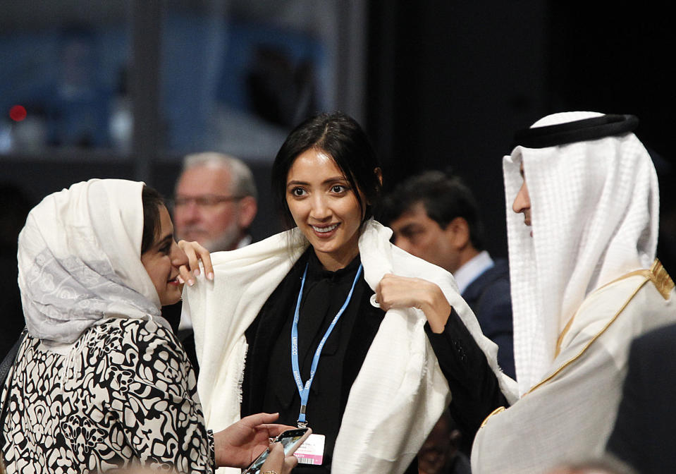 Leaders and negotiators from almost 200 nations from around the globe talk during the official opening of the key U.N. climate conference COP 24 that is to agree on ways of fighting global warming in Katowice, Poland, Monday, Dec. 3, 2018.(AP Photo/Czarek Sokolowski)