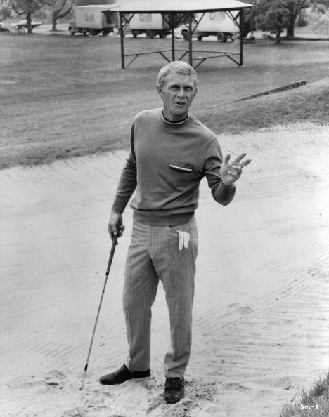 <p>Steve McQueen during a game of golf on the set of The Thomas Crown Affair, 1968.</p>
